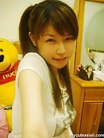 Selfmade photos of busty Asian babe at home
