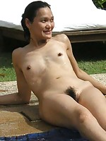 Asian wife with small breasts fucked outdoor