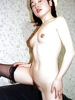 Japanese amateur shows her tight hairy pussy