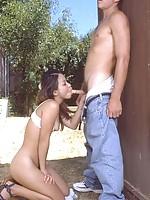 Asian slut sucking then gets banged outdoor