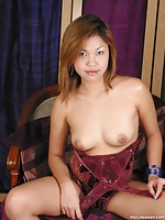 Hot thai babe spreading her tight hairy pussy